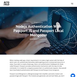 Nodejs Authentication with Passport js and Passport Local Mongoose