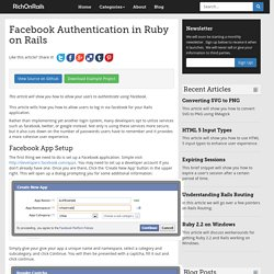 Facebook Authentication in Ruby on Rails - RichOnRails.com