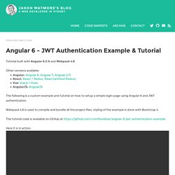 Angular 6 - JWT Authentication Example & Tutorial