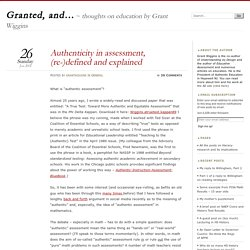 Authenticity in assessment, (re-)defined and explained