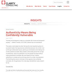 Authenticity Means Being Confidently Vulnerable