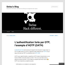 L'authentification forte par OTP, l'exemple d'HOTP (OATH) « Stel