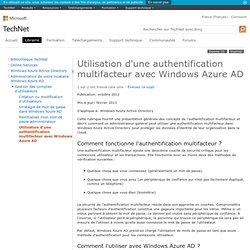 Utilisation d'une authentification multifacteur avec Windows Azure AD