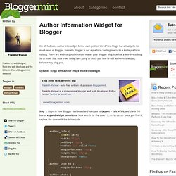 Author Information Widget for Blogger