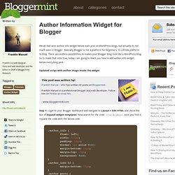 Author Information Widget for Blogger