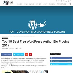 Top 10 Author Bio WordPress Plugin in 2017