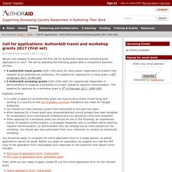 Call for applications: AuthorAID travel and workshop grants 2017 (first set)