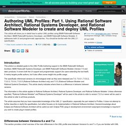 Authoring UML Profiles: Part 1. Using Rational Software Architect, Rational Systems Developer, and Rational Software Modeler to create and deploy UML Profiles