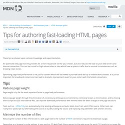 Tips for authoring fast-loading HTML pages - Web developer guide
