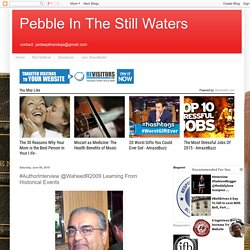 Pebble In The Still Waters: #AuthorInterview @WaheedR2009 Learning From Historical Events