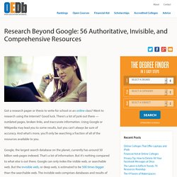 Research Beyond Google: 56 Authoritative, Invisible, and Comprehensive Resources