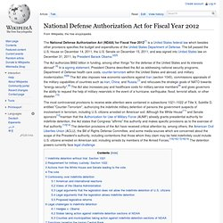 National Defense Authorization Act for Fiscal Year 2012