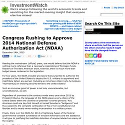 Congress Rushing to Approve 2014 National Defense Authorization Act (NDAA)