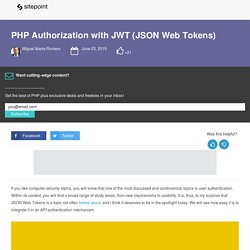 PHP Authorization with JWT (JSON Web Tokens)