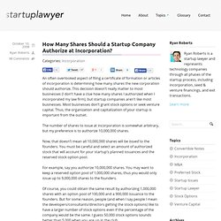 How Many Shares Should a Startup Company Authorize at Incorporat