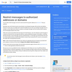 Restrict messages to authorized addresses or domains - G Suite Administrator Help