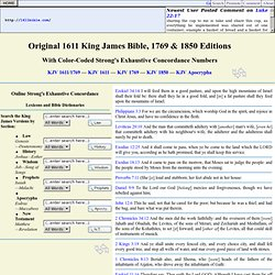 Authorized Version AV 1611 King James Bible KJB Original & 1769 Red Letter King James Version KJV Strong's Concordance Online Parallel Bible Study