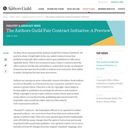 The Authors Guild Fair Contract Initiative: A Preview - The Authors Guild