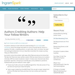 Authors Crediting Authors: Help Your Fellow Writers