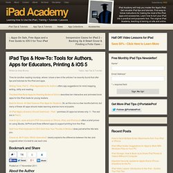 Tips on Tools for Authors, Apps for Educators, Printing & iOS 5