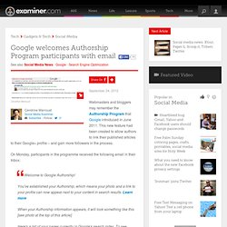 Google welcomes Authorship Program participants with email - Canada Canada Social Media