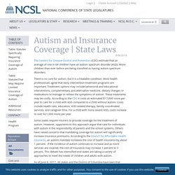 Autism and Insurance Coverage State Laws