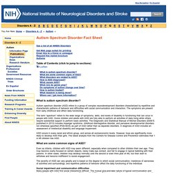 Autism Fact Sheet: National Institute of Neurological Disorders and Stroke (NINDS)