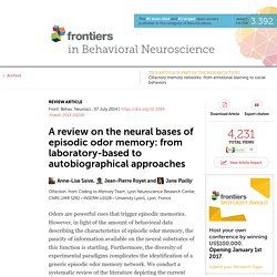 A review on the neural bases of episodic odor memory: from laboratory-based to autobiographical approaches