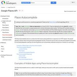 Place Autocomplete - Google Places API