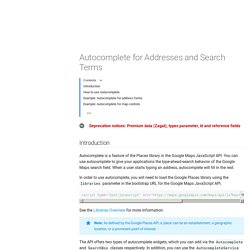 Autocomplete for Addresses and Search Terms