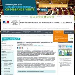 Rapport sur l'autoconsommation et l'autoproduction de l'électricité renouvelable