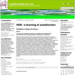 HDR : e-learning et autodirection « L'autoformation à la une