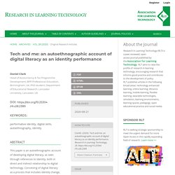 Tech and me: an autoethnographic account of digital literacy as an identity performance
