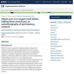 Adjust your own oxygen mask before helping those around you: an autoethnography of participatory research