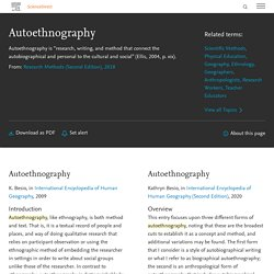 Autoethnography - an overview