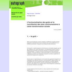 Autograph - Sociologie Du Gout