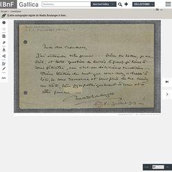 [Lettre autographe signée de Nadia Boulanger à Henri Casadesus, 8 juillet 1913]