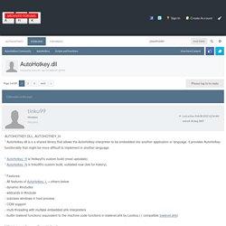 AutoHotkey.dll - Scripts and Functions - AutoHotkey Community