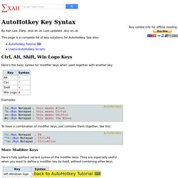 AutoHotkey Key Syntax