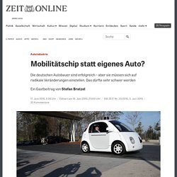 Autoindustrie: Mobilitätschip statt eigenes Auto?