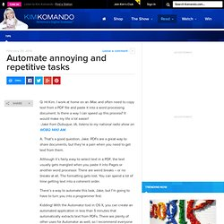 Automate annoying and repetitive tasks - Tips, Reviews and Advice on All Things Digital
