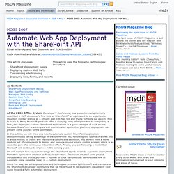 MOSS 2007: Automate Web App Deployment with the SharePoint API