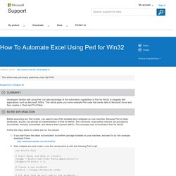 How To Automate Excel Using Perl for Win32