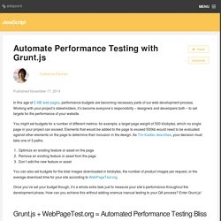 Automate Performance Testing with Grunt.js