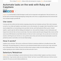 Automate tasks on the web with Ruby and Capybara