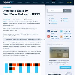 Automate These 30 WordPress Tasks with IFTTT