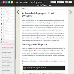 Hugo - Automated deployments with Wercker