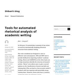 Tools for automated rhetorical analysis of academic writing – Shibani's blog