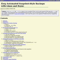 Easy Automated Snapshot-Style Backups with Rsync
