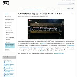 Automatenklavier, by Winfried Ritsch and IEM — PD Community Site